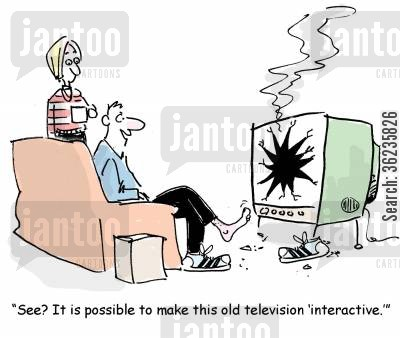 interactive teles cartoon humor: 'See? It is possible to make this old television 'interactive.''