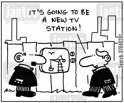 construction sites cartoon humor: 'It's going to be a new TV station.'