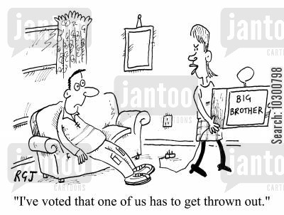 compulsion cartoon humor: I've voted that one of us has to get thrown out