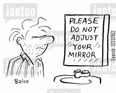 adjusts cartoon humor: Please do not adjust your mirror.