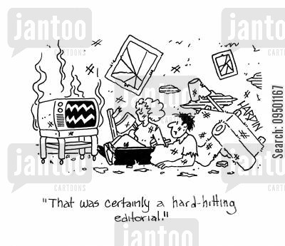 hard hitting editorials cartoon humor: 'That was certainly a hard hitting editorial!'