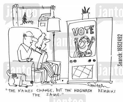 names change cartoon humor: 'The names change but the hogwash remains the same.'