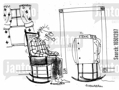 enfeebled cartoon humor: Old Man Watching Television