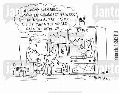 fat farm cartoon humor: 'In today's numbers... losers outnumbered gainers at the nations fat farms... but at the stock market, gainers were up.'
