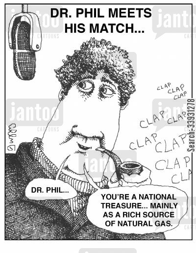 applause cartoon humor: Dr Phil meets his match...