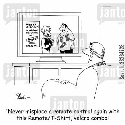 shopping channel cartoon humor: 'Never misplace a remote control again with this RemoteT-shirt, velcro combo!'