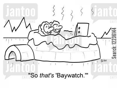 melting ice cartoon humor: 'So THAT'S 'Baywatch.''
