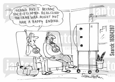 regime cartoon humor: 'Gerald and I became pacificists after realizing the Iraq might not have a happy ending.'