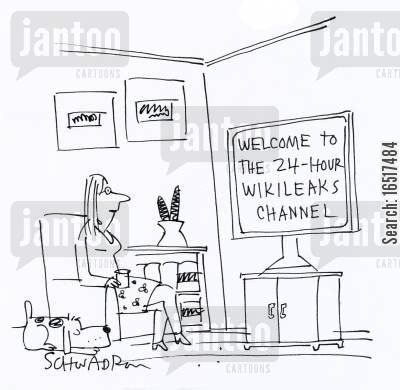 julian assange cartoon humor: Welcome to the 24-hour Wikileaks channel.