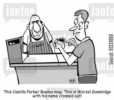 gummidge cartoon humor: This Camilla Parker Bowles mug. This is Worzel Gummidge with his name crossed out!