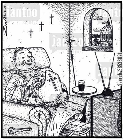 popcorn cartoon humor: Pope watching television, eating popcorn out of his Mitre hat.