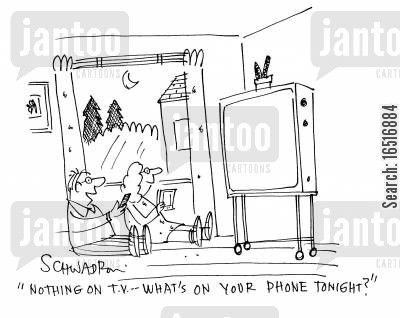 tv programme cartoon humor: 'Nothing on TV - what's on your phone tonight?'