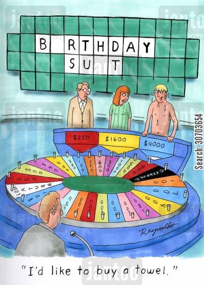birthday suit cartoon humor: 'I'd like to buy a towel.'