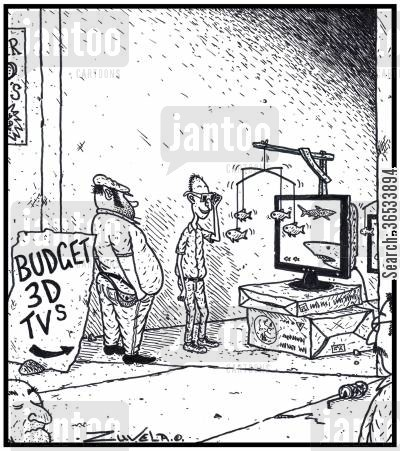 suspended cartoon humor: Budget 3D TVs - A Con-artist trying to sell fake 3D TVs with Fish Mobiles suspendedmounted to the TVs creating a false 3D effect.