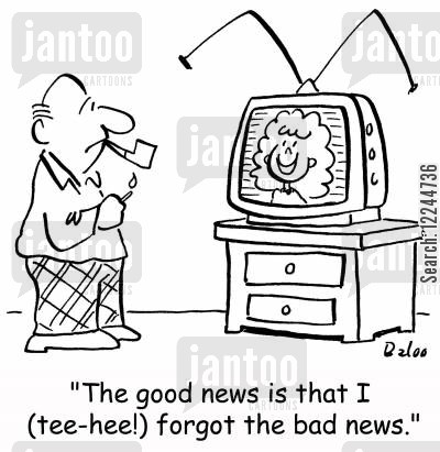 dumb blondes cartoon humor: 'The good news is that I (tee-hee!) forgot the bad news.'