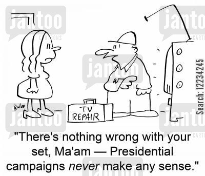 tv repair cartoon humor: TV REPAIR, 'There's nothing wrong with your set, Ma'am -- Presidential campaigns never make any sense.'