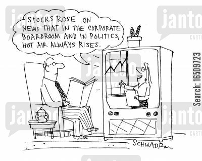 full of hot air cartoon humor: 'Stocks rose on news that in the corporate boardroom and in politics, hot air always rises.'