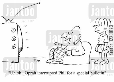 oprah winfery cartoon humor: Oh oh, Oprah interrupted Phil for a special bulletin!