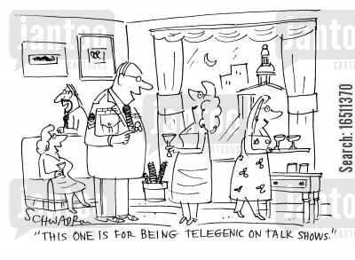 tv star cartoon humor: 'This one is for being telegenic on talk shows.'
