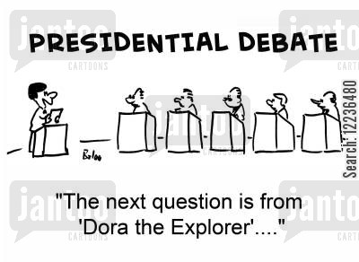 presidential debate cartoon humor: 'The next question is from 'Dora the Explorer'....'
