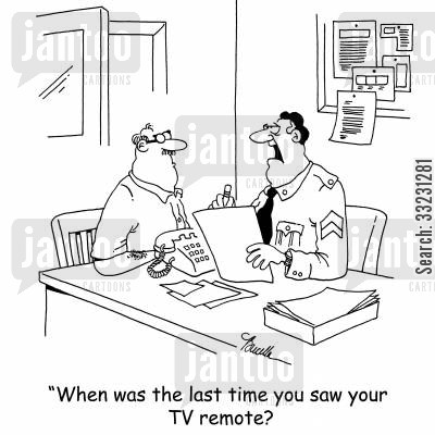 television remote cartoon humor: 'When was the last time you saw your TV remote?'