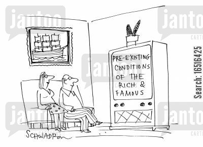 trash tv cartoon humor: Pre-existing conditions of the rich and famous.