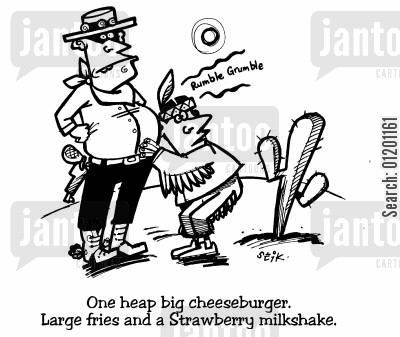 rumbly tummy cartoon humor: 'One heap big cheeseburger, large fries and a Strawberry milkshake'