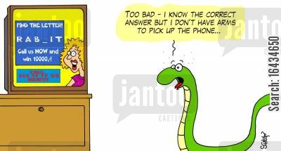 phone in cartoon humor: 'Too bad - I know the correct answer but I don't have arms to pick up the phone'