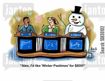 snow drifts cartoon humor: Snowman on Quiz Show.