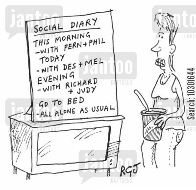social life cartoon humor: Single woman's social diary.