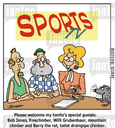 special guests cartoon humor: Rat interviewed on a Sports Chatshow.