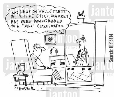 classify cartoon humor: 'Bad news on Wall Street. The entire stock market has been downgraded to a 'junk' classification.'