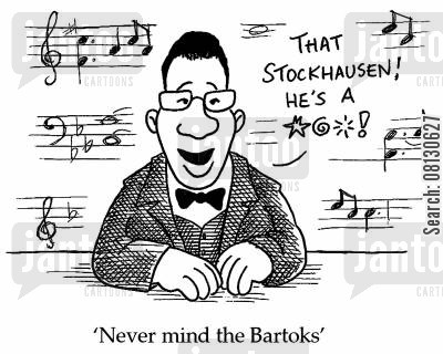 quiz show cartoon humor: Never mind the Bartoks.
