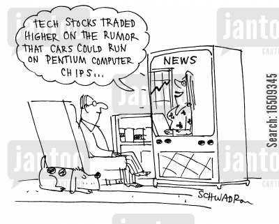 computer chip cartoon humor: 'Tech stocks traded higher on the rumor that cars cound run on pentium computer chips.'