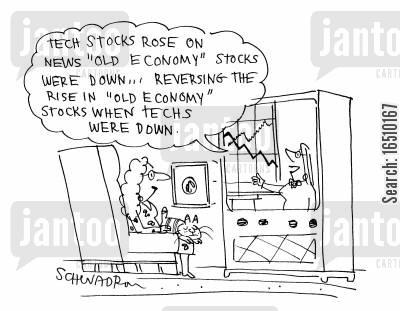 tech stock cartoon humor: 'Tech stocks rose on news 'old economy' stocks were down...reversing the rise in 'old economy' stocks when techs were down.'
