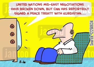 peace talks cartoon humor: 'United Nations Mid-East negotiations have broken down, but CNN has reportedly signed a peace treaty with Kurdistan....'