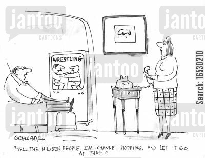consumer information cartoon humor: 'Tell the Nielsen people I'm channel hopping, and let it go at that.'