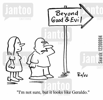good and evil cartoon humor: 'I'm not sure, but it looks like Geraldo.'