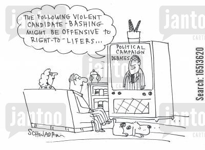 bash cartoon humor: The following violent candidate-bashing might be offensive to right-to-lifers.