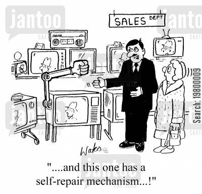 bang cartoon humor: ...and this one has a self repair mechanism!