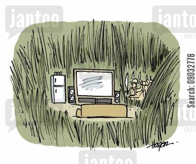 home comforts cartoon humor: Explorers come across big screen TV and fridge in jungle.