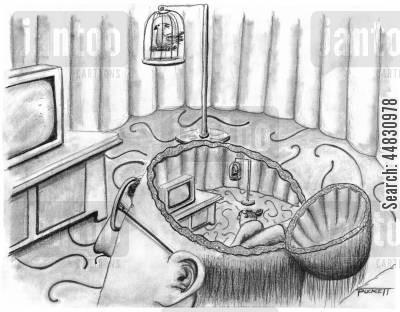 slobs cartoon humor: A man watching t.v. with his skull hinged open to reveal the same man watching the same t.v. . . .
