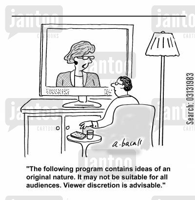audience intelligence cartoon humor: The following program contains ideas of an original nature. It may not be suitable for all audiences. Viewer discretion is advised.