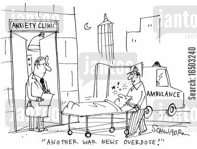 overdoses cartoon humor: 'Another war news overdose!'