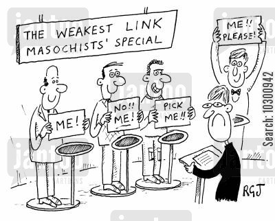 masochist cartoon humor: 'The Weakest Link Masochists' Special'