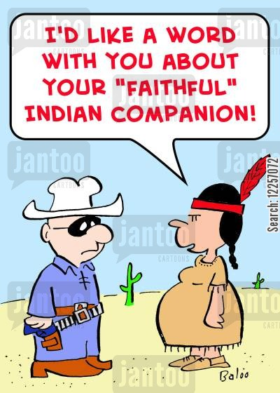 pregant cartoon humor: 'I'd like a word with you about your 'faithful' Indian companion!'