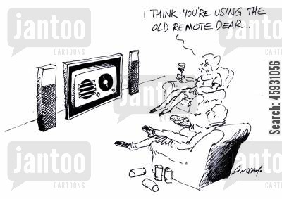 old remote cartoon humor: I think you're using the old remote...