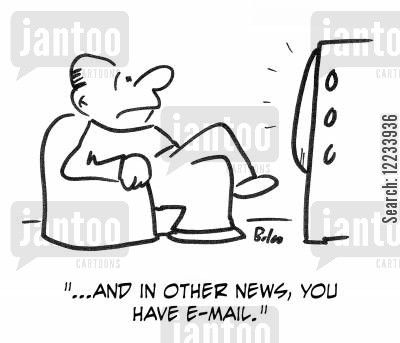 postal strike cartoon humor: '...And in other news, you have e-mail.'