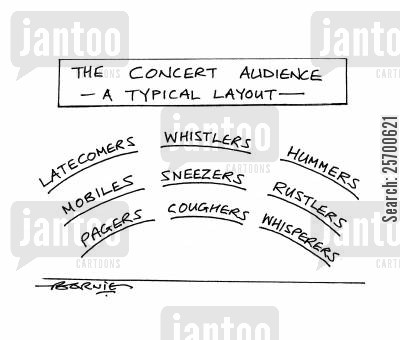 cougher cartoon humor: A Concert Audience - A Typical Layout.