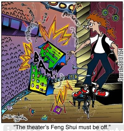 sound technician cartoon humor: 'The Feng Shui of this auditorium must be off.'